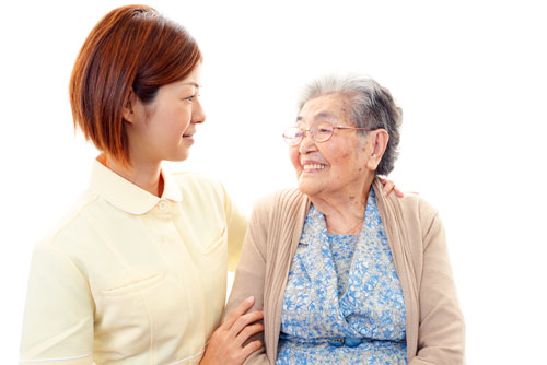 Genki HomeCare caregiver and client side by side